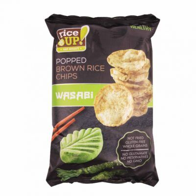 BMS rice up popped brown whole grain rice chips with wasabi flavour g