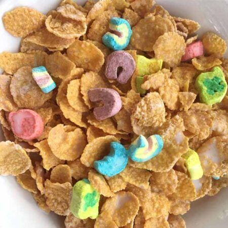 p  lucky charms frosted flakes bowl