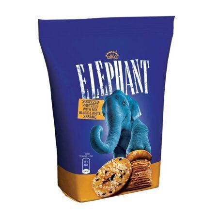 Elephant Squeezed Pretzels with Sesame