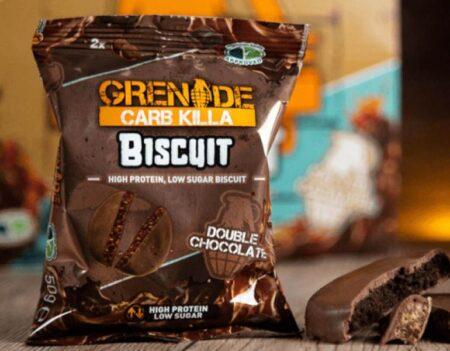 grenade carb killa μπισκότα υψηλής πρωτεΐνης double chocolate