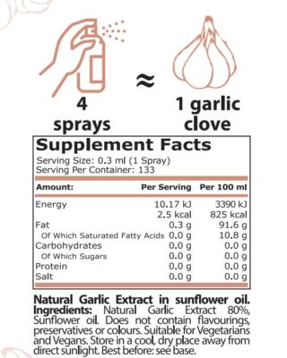 pure nutrition garlic spice spray 40 ml supplement facts