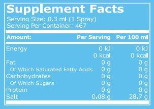 pure nutrition sauce spray salt 140ml facts