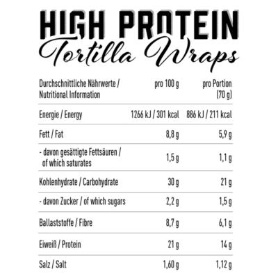 got7 protein tortilla wraps 25 cm 280 g facts