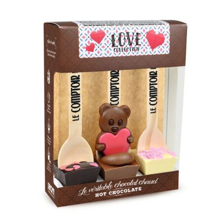 love collection 3 hot chocolate set with assorted figures mathilde 90g