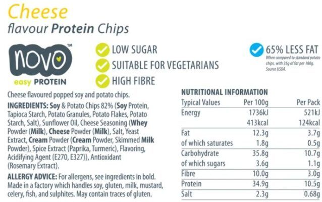 novo easy protein chips cheese 30gr facts
