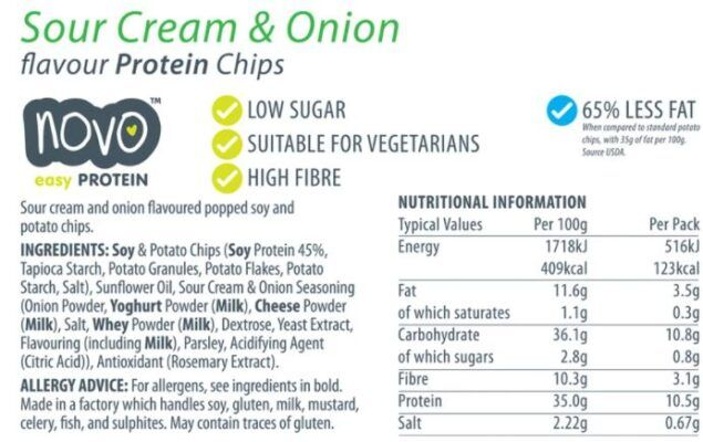 novo easy protein chips sour cream onion 30gr facts