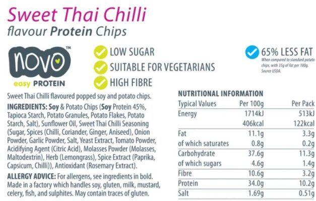 novo protein chips sweet thai chilli 30g facts