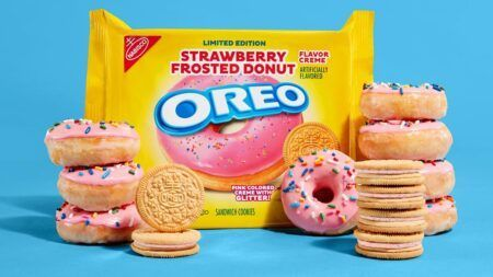 oreo strawberry frosted donut cookie