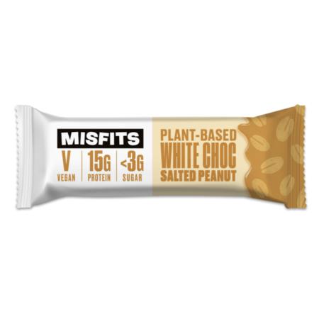 Misfits Vegan Protein BarWhite Chocolate Salted Peanut 45g new protein package