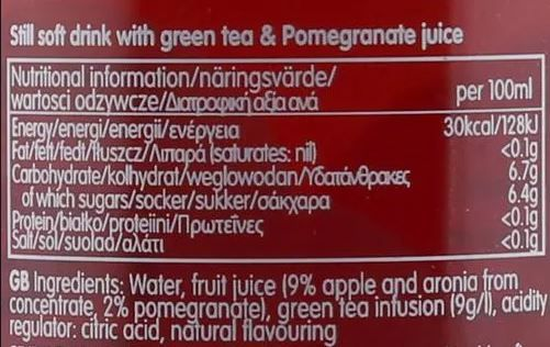mangajo pomegranate green tea 250ml facts