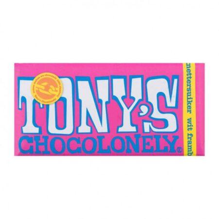 tony chocolonely white chocolate rasbery crspy sugar